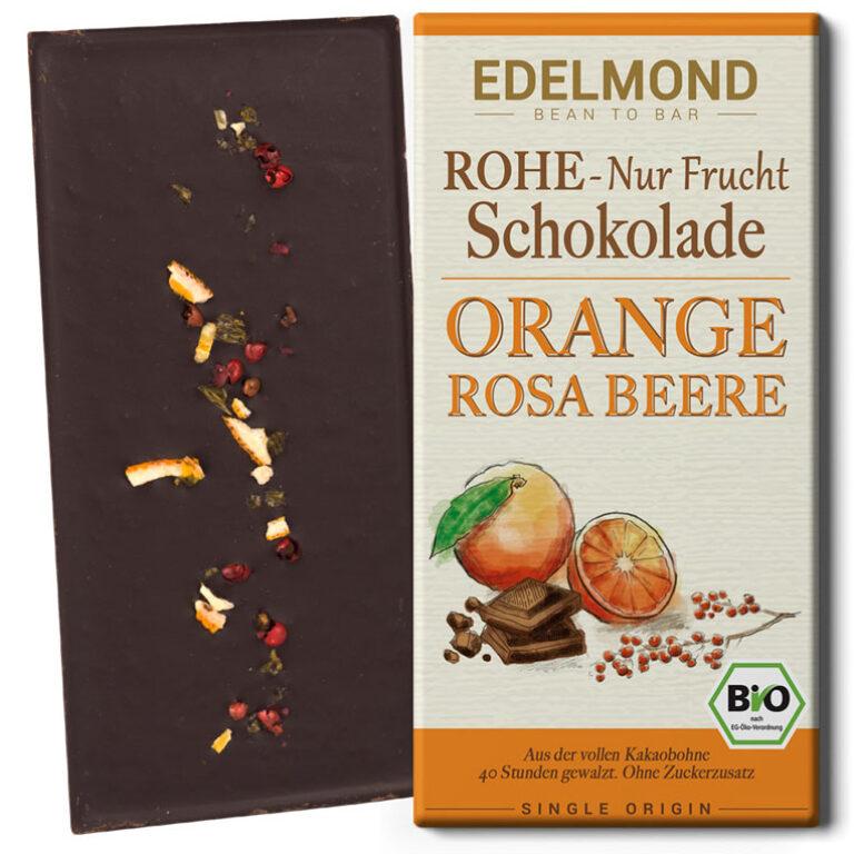 Rohe 75% Nur Frucht Schokolade (BIO)* Orange/Rosa Beere | Artikelnummer: ED036