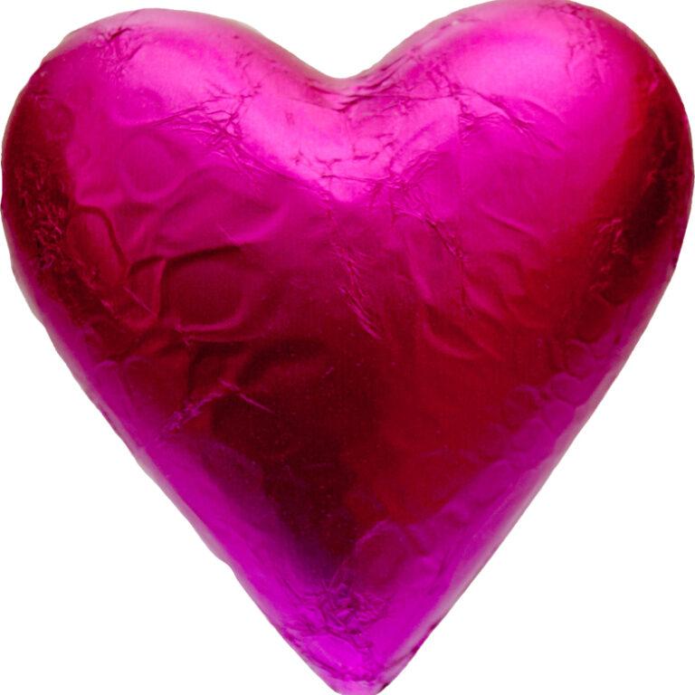 Herz Stanniol rot/rosa/pink 11x12 cm | Artikelnummer: FS14S
