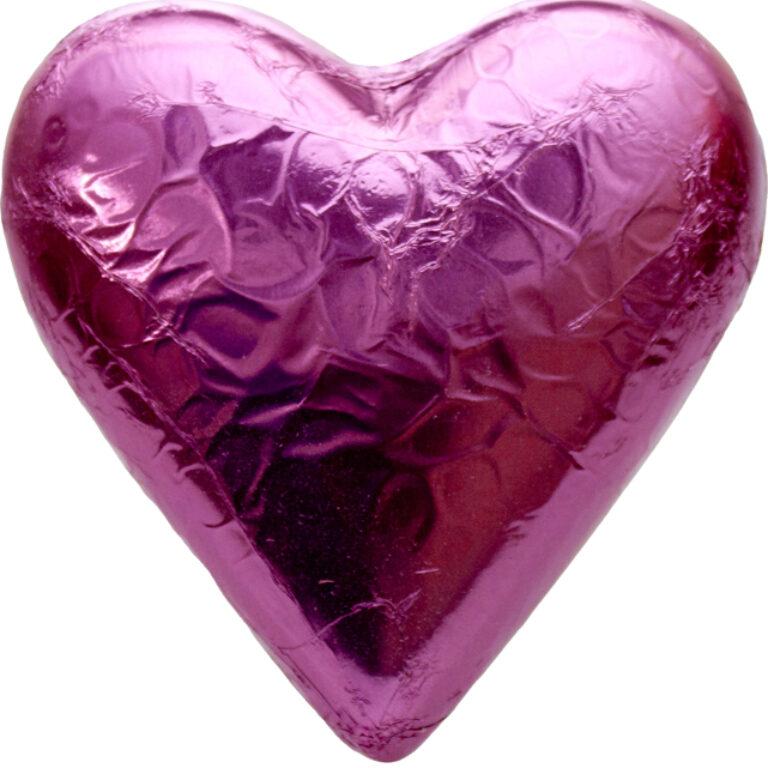 Herz Stanniol rot/rosa/pink 9x10 cm | Artikelnummer: FS15S