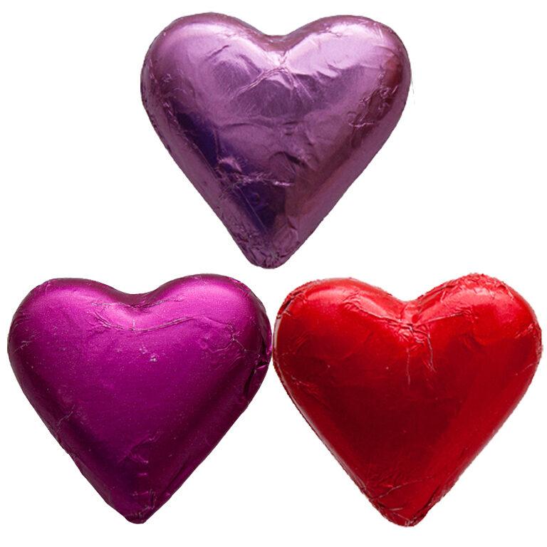 Herz Stanniol rot/rosa/pink 7x7 cm | Artikelnummer: FS37S