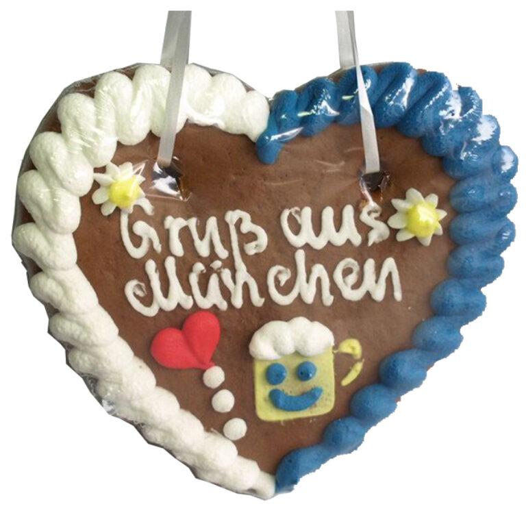 Lebkuchenherz Gruß aus München 17x14 cm | Artikelnummer: FY0307M