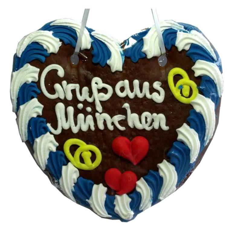 Lebkuchenherz Gruß aus München 22x23 cm | Artikelnummer: FY0407M