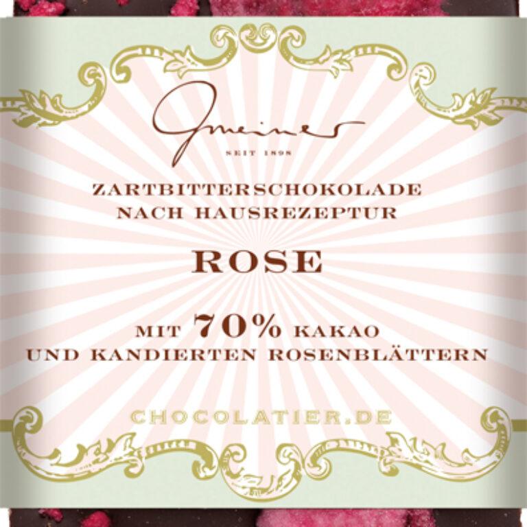 Edel-Zartbitter 70% - kandierte Rosenblütenblätter | Artikelnummer: GM11190