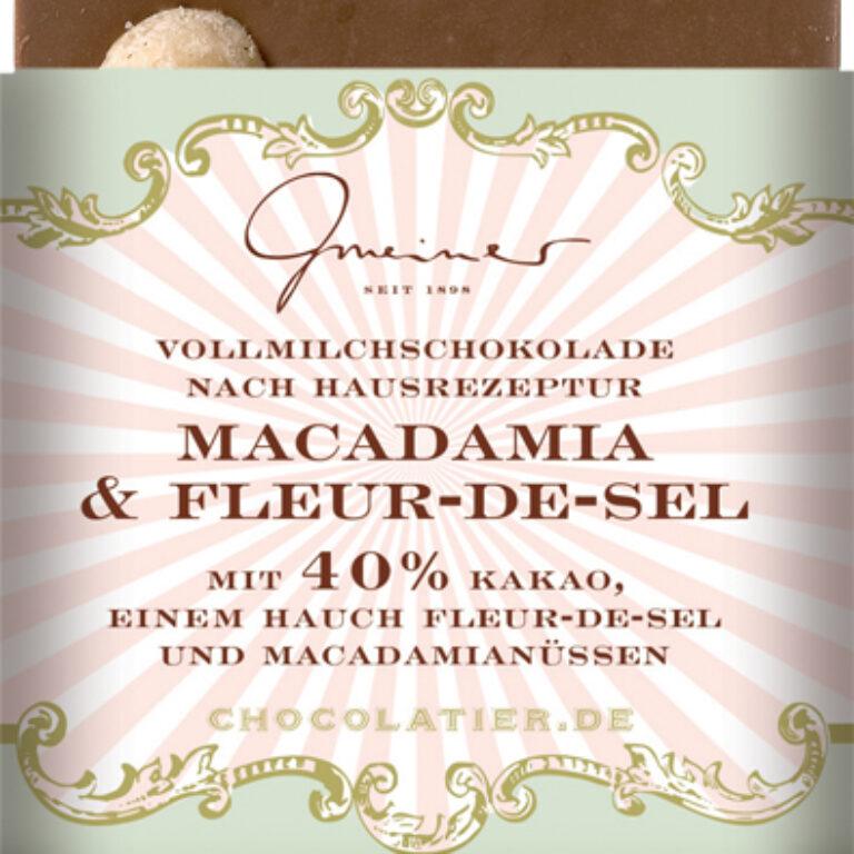 Edel-Vollmilch 40% - Macadamia & Fleur de Sel | Artikelnummer: GM11198