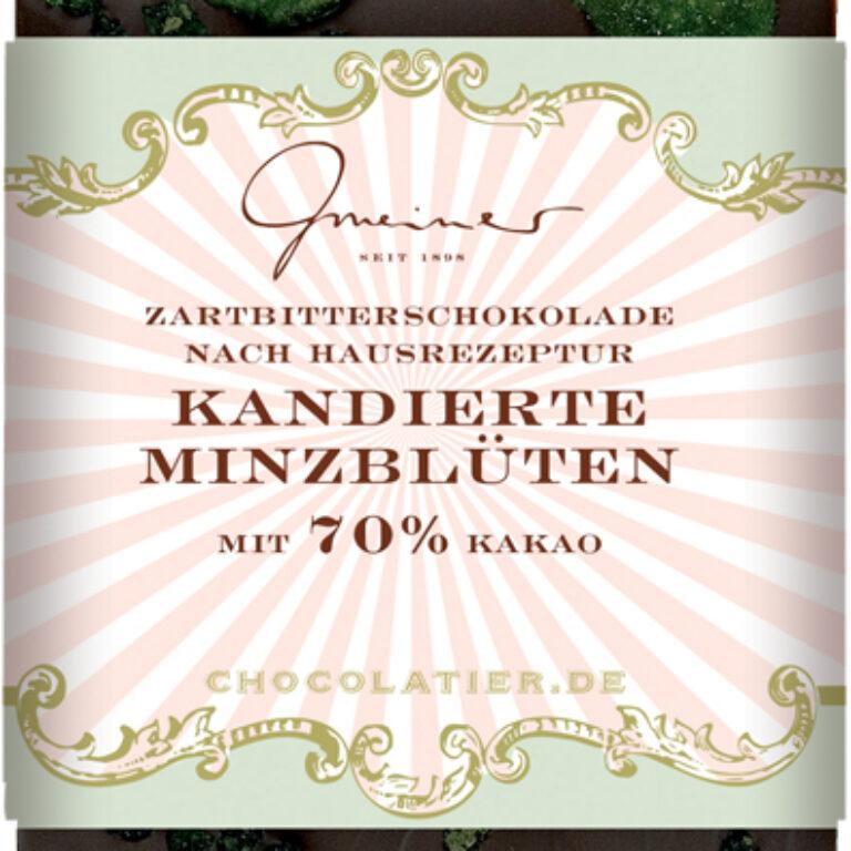 Edel-Zartbitter 70% - kandierte Minzblätter | Artikelnummer: GM11206