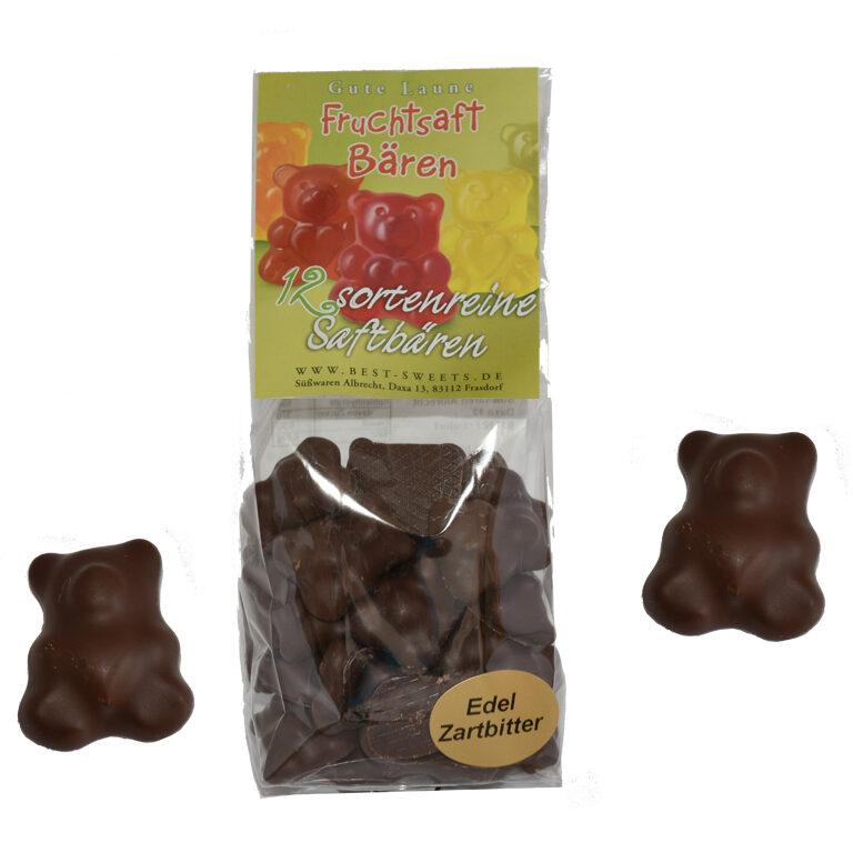 Fruchtsaftbären schokoliert mit Edel-Zartbitterschokolade | Artikelnummer: MEG18